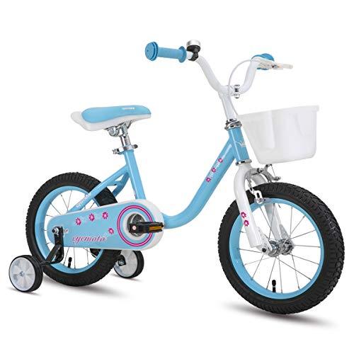 CYCMOTO 14' Kids Bike with Basket, Hand Brake & Training Wheels for 3 4 5 Years Girls, Toddler Bicycle Blue