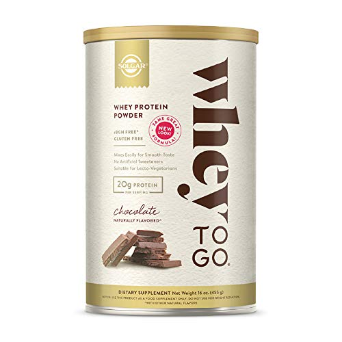 Solgar Whey To Go Protein Powder Natural Chocolate Flavor, 16 oz - Whey Protein Isolate and Concentrate - Mixes Easily for Smooth Taste - Gluten Free - 20g Protein per Serving