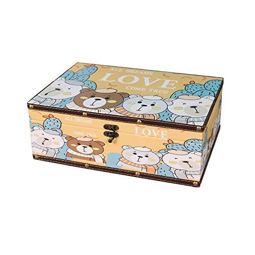 WNN URG - Caja de joyería de cuero vintage, pequeña caja de almacenamiento de joyas, caja de regalo de recuerdo, adecuado para anillos, pendientes, collar URG (tamaño: 32.1 x 23.5 x 11.7)