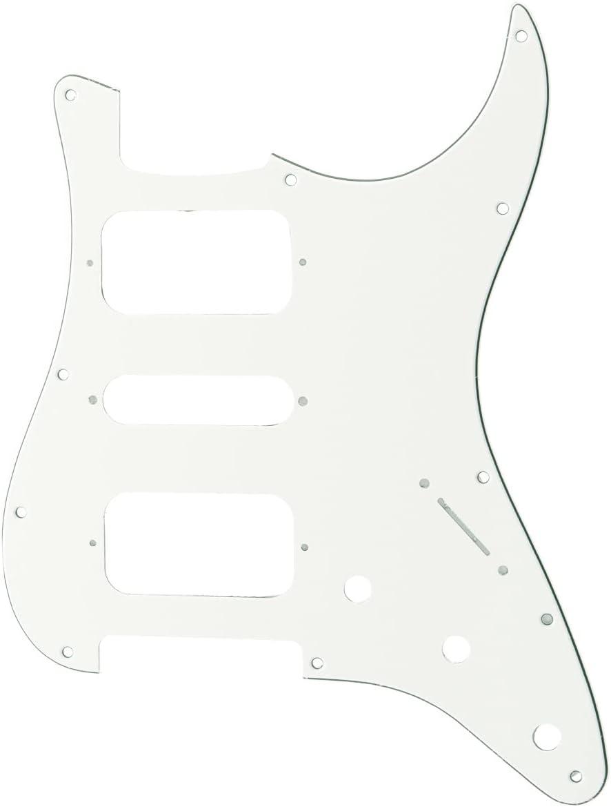 Musiclily Pro 11 Agujero Round Corner HSH Golpeador Strato Pickguard para Guitarra Eléctrica American/Mexican Fender Standard Stratocaster, 3 capas Blanco