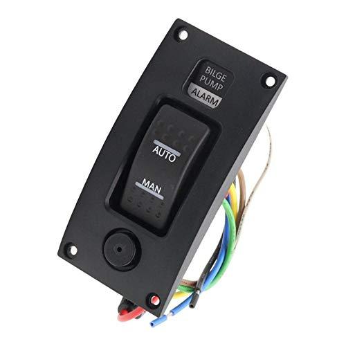 PETSOLA Panel de Interruptor de Bomba de Achique Marina para Botes Retroiluminación LED con Alarma