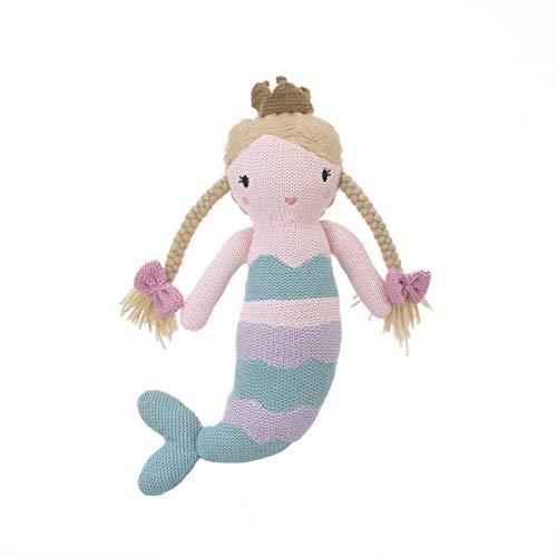Cuddle Me Mermaid 100% Cotton Knitted Plush Toy, Cassidy, Aqua/Lavender