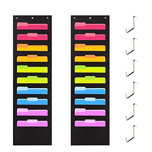 Portariviste da parete, Storage Pocket chart cartellina da appendere alla parete, Tasche portatutto da porta, Organizer da porta per ufficio, scuola o casa 6 ganci e 20 ampie tasche, Nero