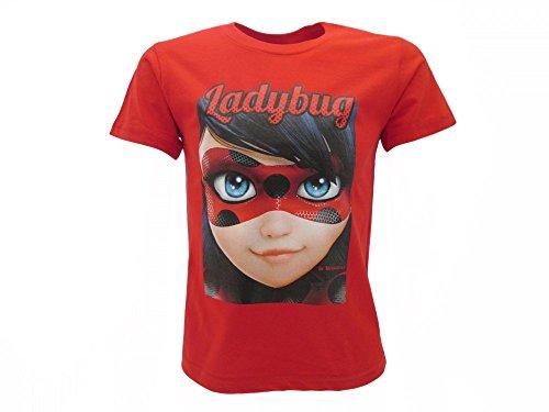 Miraculous T-Shirt Originale Ladybug Volto Occhi Rosso Ufficiale Bambina Maglia Maglietta (7-8 Anni)