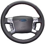 Shining wheat Funda para volante de coche de piel negra para Ford Mondeo Mk4 2007-2012 S-Max 2008