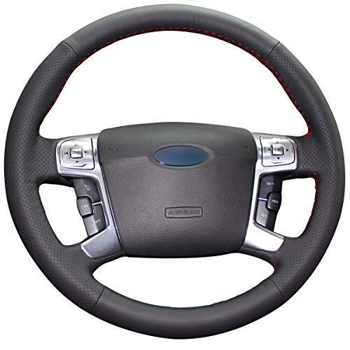 Shining wheat Funda de cuero negro para volante de coche Ford Mondeo Mk4 2007-2012 S-Max 2008