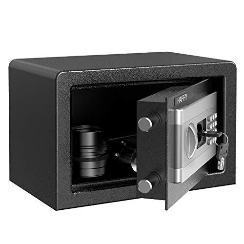 HAPFIY Caja Fuerte Convencionales de Seguridad, 8,6L Electrónica Caja de Seguridad con Alarma Incorporada Montaje en el Suelo Para Documento para Oficina en casa, 4 AA batterias+2 Llaves, 31x20x20cm