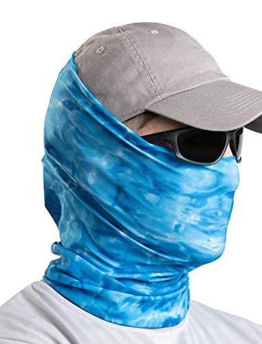 Aqua Design Fishing Hunting Masks Neck Gaiters for Men and Youth: UPF 50+ Sun Mask Protection: Camo Half Face Cover Balaclava Bandana: Royal Ripple: Size Large