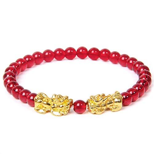 QYAQ Stone Bracelet For Women,7 Chakra Natural Red Agate Stone Bead Bracelet Double Golden Pixiu Elasticity Bangle Boho Style Woman Jewelry Yoga Gift Girlfriend Mom