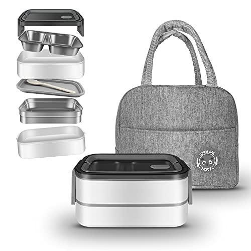 Lunchbox Bento Box Kinder Erwachsene Luftdichte Brotdose mit Isolierte Lunchtasche BPA Frei und Lebensmittelechte Essensbox Bentobox mit 2 Fächern
