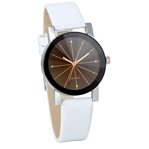JewelryWe Damen Armbanduhr, Analog Quarz, Klassiker Elegant Business Casual Uhr mit Schwarz Rund Zifferblatt & Weiss Leder Armband