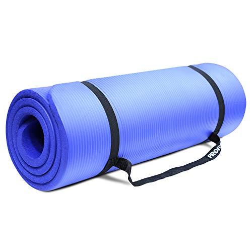 PROIRON Sportmatte Fitnessmatte Gymnastikmatte Pilatesmatte Extra Dicke Rutschfest NBR-Material 180cm x 61cm x 15mm mit Tragegurt Blau