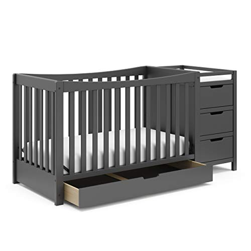 Graco Remi All-in-One Convertible Crib with Drawer & Changer - Jpma-Certified Convertible Crib with Storage Drawer, Gray