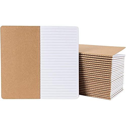 Kraft Paper Notebook, Blank Lined Journal (4 x 8 in., 24 Pack)