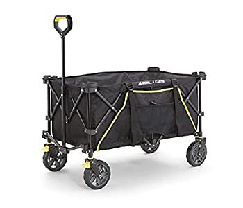 Gorilla Carts GCSW-7P 7 Cu Ft Collapsible Folding Outdoor Utility Wagon with Oversized Bed Black