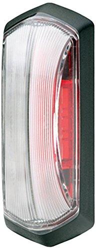 HELLA 2XS 205 020-011 LED-Umrissleuchte, rot / glasklare Lichtscheibe, 24 V, Direktverschraubung, AMP SS schwarz, schwarzer Rahmen für Direktverschraubung