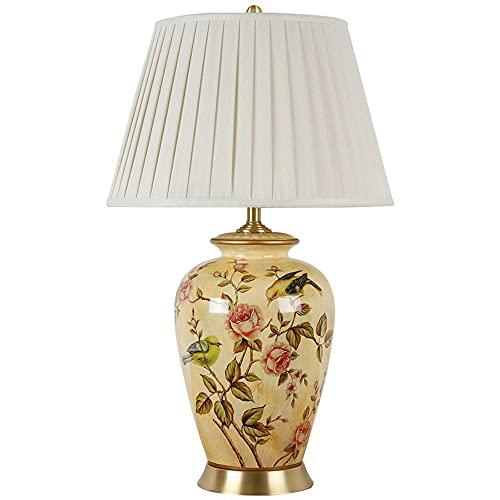 WUYIGE Lámpara de mesa china de cerámica fina hecha a mano pura Todo cobre clásico americano modelo europeo habitación hotel sala de estar luz de noche Decoración de tela lámpara de cabecera retro E27