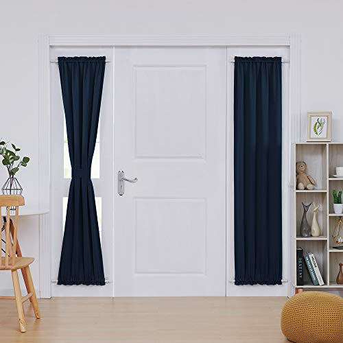 Deconovo French Door Curtains Room Darkening Thermal Insulated Blacktout Curtains for Door 25x72 Inch Navy Blue 1 Panel