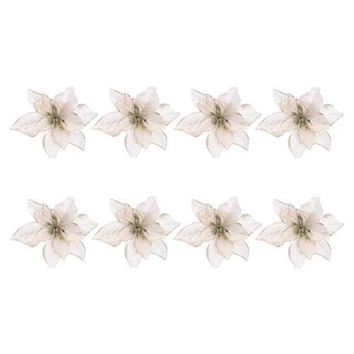 Flores De Navidad Para Decorar Doradas flores de navidad para decorar  Marca Amosfun
