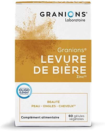 GRANIONS Levure de Bière - 60 Gélules Végétales = 20 Jours à 60 Jours -Levure de Bière, Zinc - Beauté de La Peau, Ongles et Cheveux - Laboratoire des Granions - Marque Française
