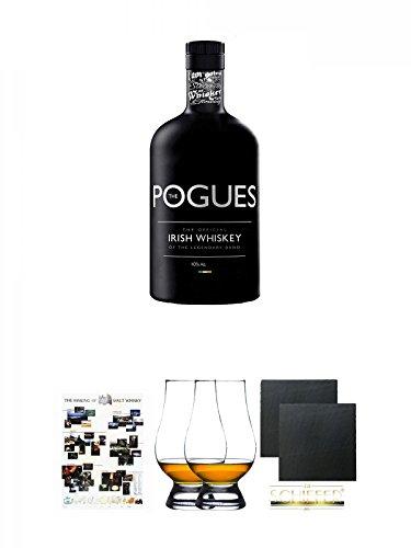 The Pogues Irish Whiskey 0,7 Liter + Poster The Making of Malt Whisky DIN A1 + The Glencairn Glass Whisky Glas Stölzle 2 Stück + Schiefer Glasuntersetzer eckig ca. 9,5 cm Ø 2 Stück