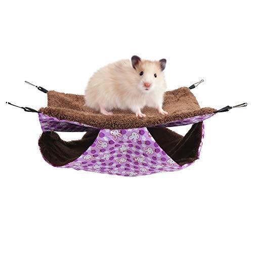 Ponacat ハムスターハンモック 二重層 中間暖かいハンモック 柔らかいリスの絨毛 家の寝袋 懸垂式 マウス・ラット・ハムスター用 水洗い可 紫色のウサギ(L/S)