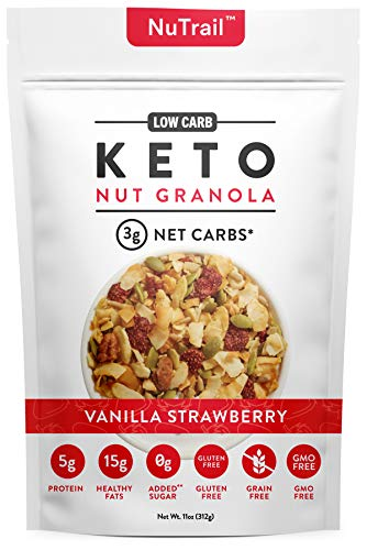 NuTrail™ - Keto Vanilla Strawberry Nut Granola Healthy Breakfast Cereal - Low Carb Snacks & Food - 3g Net Carbs - Gluten Free, Grain Free - Almonds, Pecans, Coconut and more (11 oz) (1 Count)