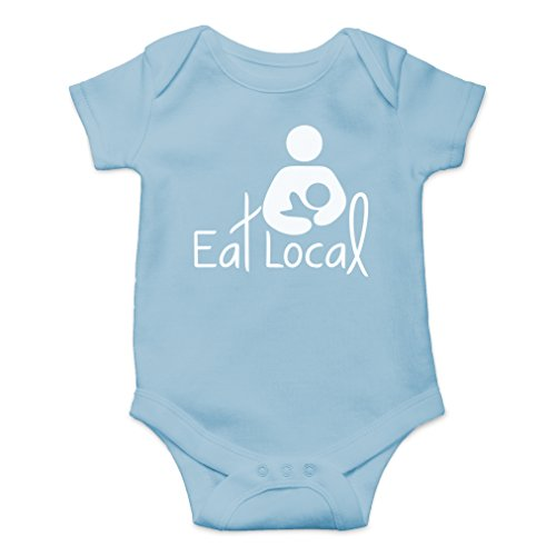 AW Fashions Eat Local- Breastfeeding Cute Novelty Funny Infant One-Piece Baby Bodysuit (Newborn, Light Blue)
