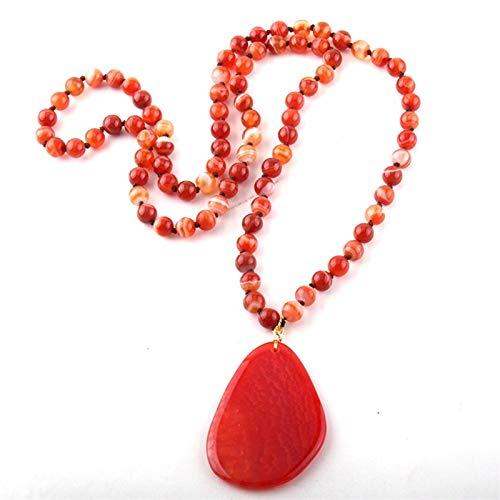 ZAOPP Fashion Bohemian Jewelry Hermosa Raya Piedra Natural Naotted Drop Pendiente Colgante Dropship Accesorios (Length : 86cm, Main Stone Color : Red)