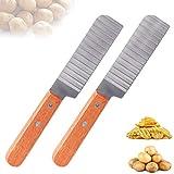 LTHERMELK 2 Affettatrice Ondulata con Impugnatura Antiscivolo Acciaio Inossidabile Coltello Patate per Patatine Fritte Frutta Verdura Cucina