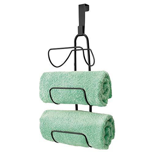 mDesign Modern Decorative Metal Wire Over Shower Door Towel Rack Holder Organizer - for Storage of Bathroom Towels, Washcloths, Hand Towels - 3 Tiers - Black