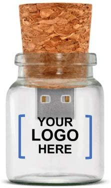 Custom Message in A Bottle USB Flash Drive - 64MB (Cork/Clear) - 25 PCS - $6.22/EA - Promotional Product/Branded with Your Logo/Bulk/Wholesale