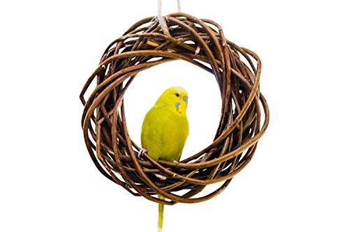 Leckerer Weidenring zum Knabbern für Wellensittich, Nymphensittich & Co.; Weidengeflecht. Ein ganz besonderes Vogelspielzeug für die Voliere oder den Vogelkäfig Wellensittich. Vogelspielplatz zum Aufhängen