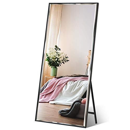 """Full Length Mirror 65""""x23.6"""" Standing/Wall Hanging, Vertical Black Frame HD Rectangle Full Body Tall Big Floor Stand up or Wall Mounted Mirror"""