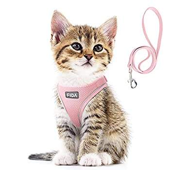 Fida Comfy Dog Harness with Leash Cat Vest Harness Escape Proof Breathable Lightweight Soft Mesh Adjustable Reflective Step-in Harness for Puppy Toy Breeds & Extra-Small Pet  XXS Pink