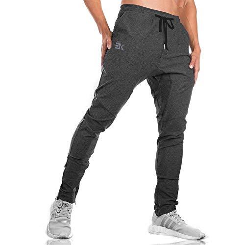 BROKIG ジップジョガーパンツ メンズ トレーニングウェア ダブルポケット付き 筋トレ パンツ ジムウェア スリム 通気性 ストレッチ (XL, グレー)
