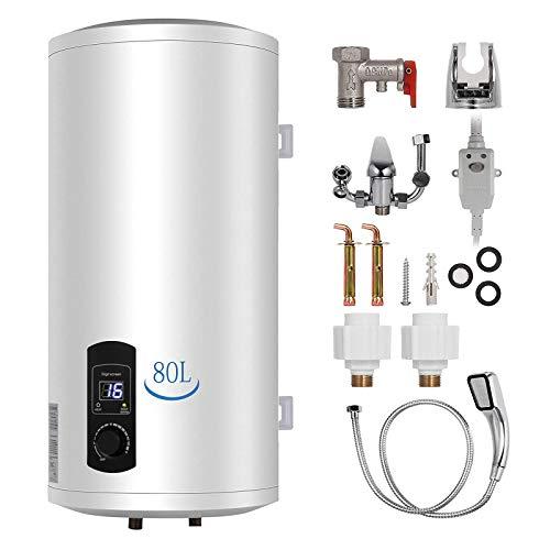 Calentador de agua eléctrico de 80 litros, 2 kW, con pantalla LED, con set de ducha y accesorios