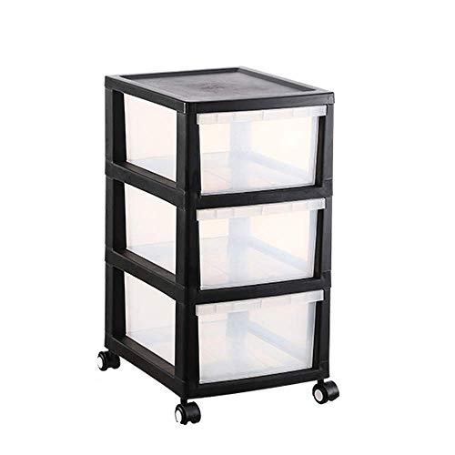 Baibao Plastic Storage Drawers On Wheels Cabinet Containers Large Unit Cabinet 3/4 Drawers White-4 tiers (Color : Black, Size : 3 tiers)