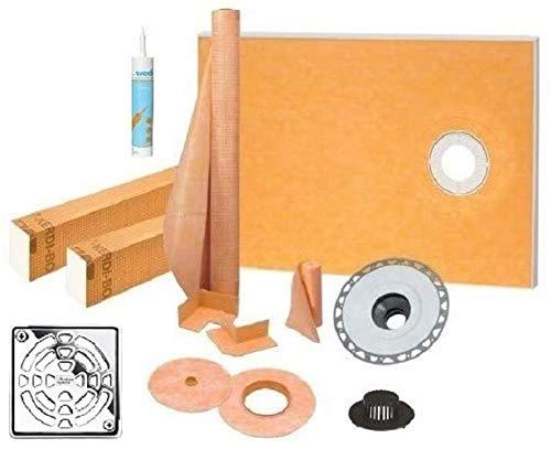 "Schluter Kerdi Shower Kit 38"" x 60"" Offset Shower Tray (KST965/1525S) with 2"" PVC Bonding Flange, Strainer, Joint Sealant and 4"" Chrome Grate"