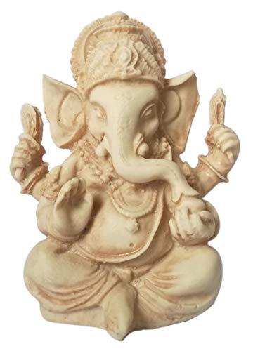 Eurofusioni Ganesh Figura - Ganesha pequeña Estatua de Buena sorte - El Dios Elefante, Talismán para lainteligencia, la sabiduría, los Caminos y Las Letras - Resina Pintada a Mano - H 9 cm