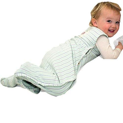Merino Kids Saco de Dormir para Bebés de 0-2 Años, Light Green/Light Grey Stripe