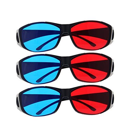 Othmro 3D-Brille mit schwarzem Kunststoffrahmen und Harzlinse, einfacher Stil, 3D-Filmspiel, Rot-Cyan-Anaglyphe, 3 Stück