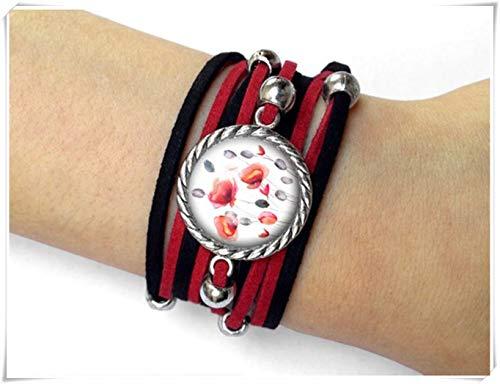 Leonid Meteor Shower Mohnblumenbilder Armband, Reine Handarbeit, Glasornamente, einfache und Elegante Armbänder.
