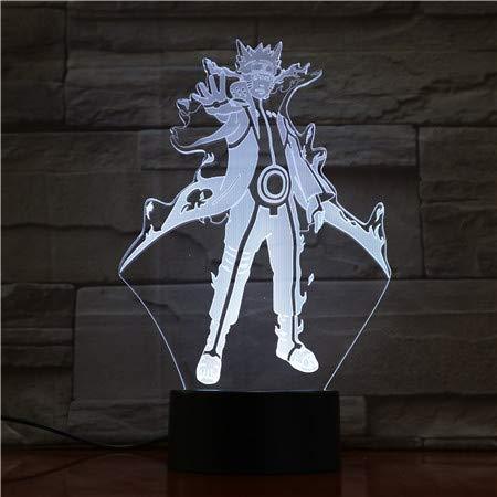 Lampara LED Naruto Uzumaki Modo Bijuu Cambia Color USB Luz nocturna y decoración