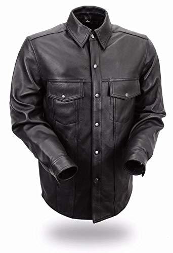 First MFG Co. - Milestone - Men's Motorcycle Leather Shirt (Black, XX-Large)