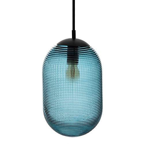 Lámpara de techo con tulipa cilíndrica de cristal y metal azul oscuro...