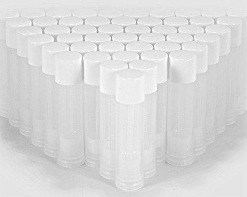 Viales de alta calidad, 50 unidades, recipientes vacíos para bálsamo labial – Haz tu propio bálsamo de labios, tubos vacíos – 3/16 oz (5.5 ml) (tapa blanca)