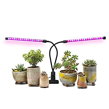 [2018 Upgraded]18W Dual Head Timing Grow Lamp, 36 LED Chips with Red/Blue Spectrum for Indoor Plants, Adjustable Gooseneck, 3/6/12H Timer, 5 Dimmable Levels[AMAZINGCATS]