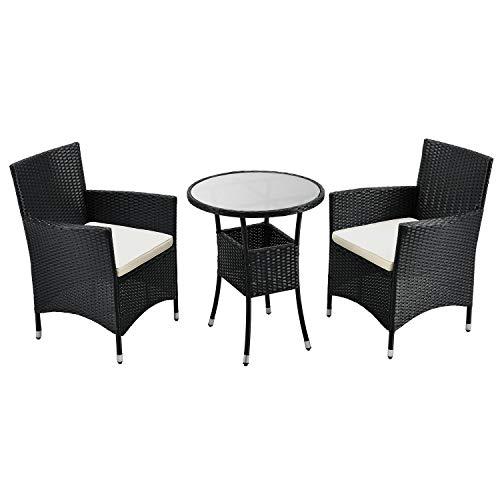 ArtLife Polyrattan Balkonset Bayamo 3-teilig – Balkonmöbel wetterfest mit Tisch, 2 Stühle & Kissen – Gartenmöbel Set für 2 Personen – Schwarz/Creme