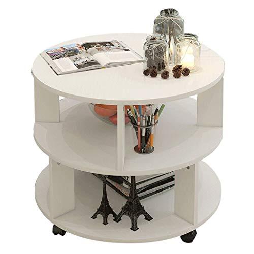 NYKK Mesa de Centro Mesa de Centro Simple Moderna Mesa Lateral Redonda Dormitorio Mesita de Noche con Ruedas Universal Conveniencia móvil (Beige) (Color : White)